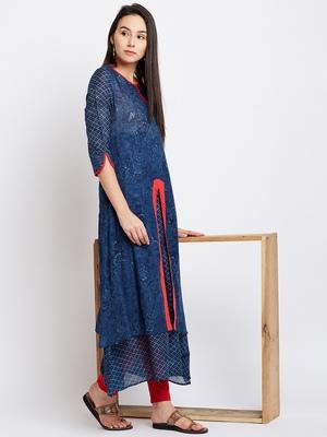 Navy blue printed cotton kurti