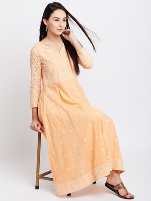 Orange woven cotton chikankari-kurtis