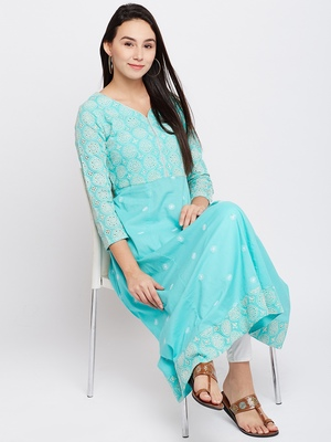 Green woven cotton chikankari-kurtis