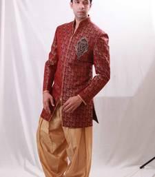 Buy Maroon brocade Jodhpuri Sherwani men-festive-wear online