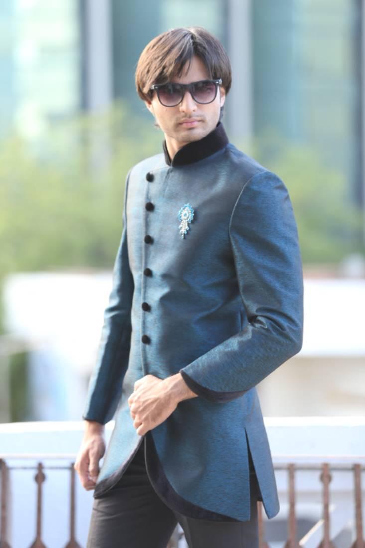 Buy Evening blue brocade indowestern suit Online