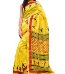 Buy  Maheshwari Block Print Saree Handloom - Yellow maheshwari-saree online