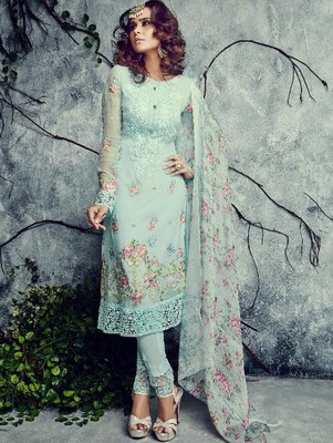 Sea Green Sky Blue Firozi Color embroidered georgette semi stitched salwar with dupatta