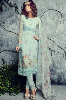 6ccf3c8f99175 Sea Green Sky Blue Firozi Color embroidered georgette semi stitched salwar  with dupatta. Shop Now