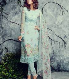 Buy Sea Green Sky Blue Firozi Color embroidered georgette semi stitched salwar with dupatta anarkali-salwar-kameez online