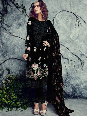 black embroidered georgette semi_stitched salwar with dupatta