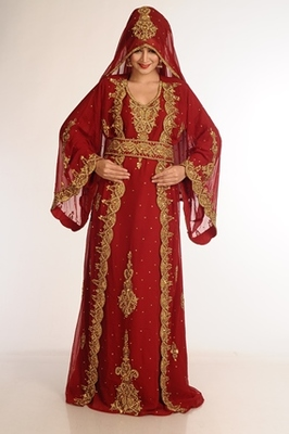 Maroon Zari Work Georgette Islamic Style Party Wear Stones and Beads Embedded Arabian Kaftan