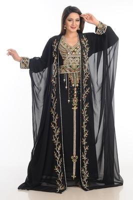 Black Zari Work Georgette Islamic Style Party Wear Stones And Beads Embedded Arabian Kaftan