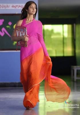 Pink and Orane Saree