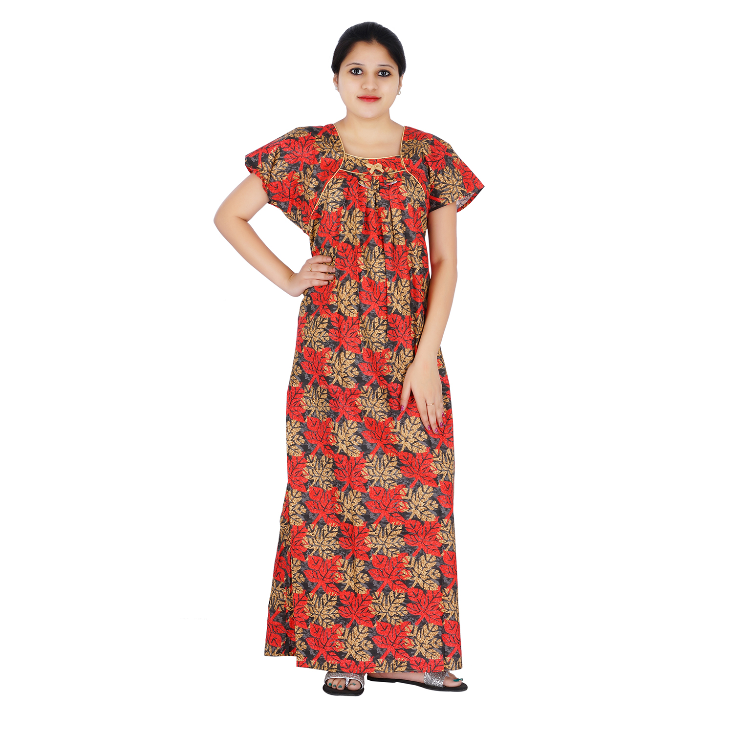 Red and Brown colour Floral Design Printed Square neck cotton nighty for  Ladies Full Length Night Gown - One Stop Fashion - 2569747 cc3526ce7
