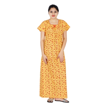 Yellow and Red colour Floral Design Printed Square neck cotton nighty for  Ladies Full Length Night Gown - One Stop Fashion - 2569761 ec593e59b