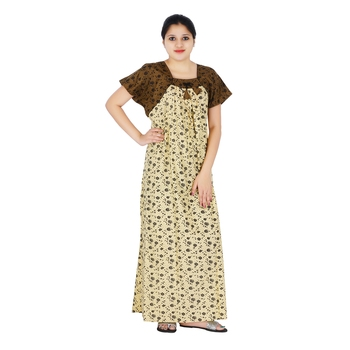 Buy Brown and Beige colour Floral Design Printed Square neck cotton ...