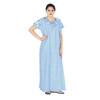 a47c4ef7c7 Blue and White colour Geometrical Design Printed Round neck cotton nighty  for Ladies Full Length Night Gown - One Stop Fashion - 2569764