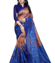 Buy Brown printed bhagalpuri silk saree with blouse