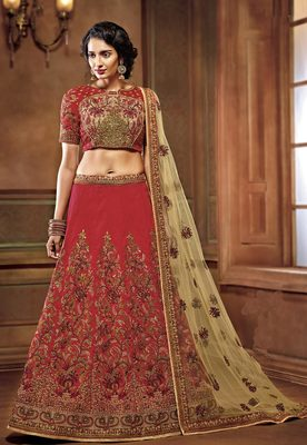 Red two tone silk heavy embroidery bridal lehenga with dupatta