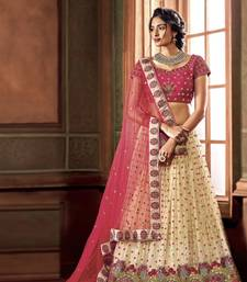 Buy Cream fancy net heavy embroidery lehenga with dupatta wedding-lehenga online