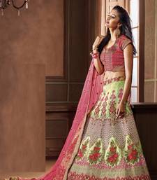 Multicolor two tone silk heavy embroidery lehenga with dupatta