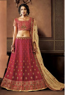 Pink two tone silk heavy embroidery lehenga with dupatta