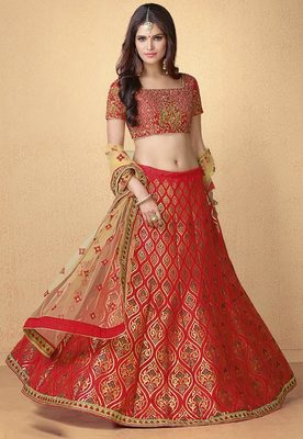 Red Banarasi Silk Heavy Embroidery Lehenga With Dupatta Desibutik