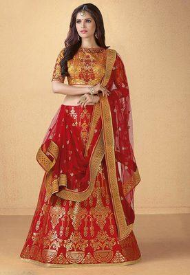 Red banarasi silk heavy embroidery lehenga with dupatta