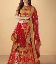Buy Red banarasi silk heavy embroidery lehenga with dupatta bridal-lehenga online