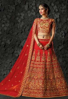 Red silk heavy embroidery bridal lehenga with dupatta