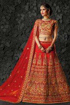 2b49c5bbb33e4 Red Lehenga Online   Buy Red Color Lehengas Designs @ Discounted Prices