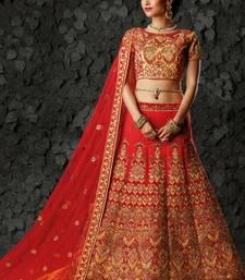 Red silk heavy embroidery bridal lehenga with dupatta