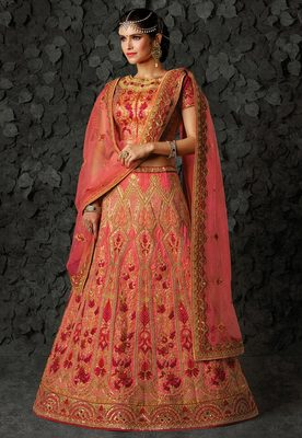 Pink silk heavy embroidery bridal lehenga with dupatta
