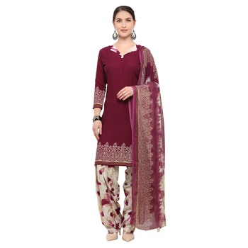 Wine digital print crepe salwar
