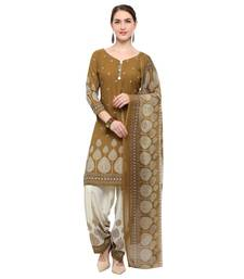 Buy Brown abstract print crepe salwar punjabi-suit online