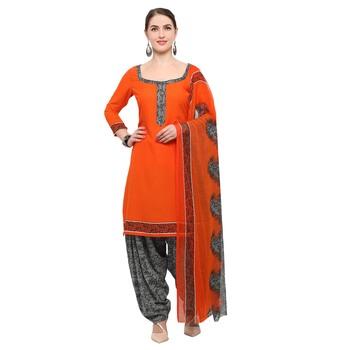 Orange Block Print Crepe Salwar