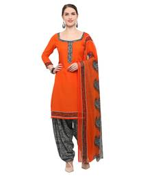 Buy Orange block print crepe salwar crepe-salwar-suit online
