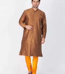 Buy Men brown silk blend sherwani style kurta set pathani-sherwani online