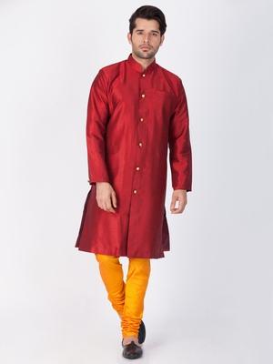 Men Maroon Silk Blend Sherwani Style Kurta Set