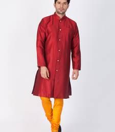 Buy Men maroon silk blend sherwani style kurta set pathani-sherwani online