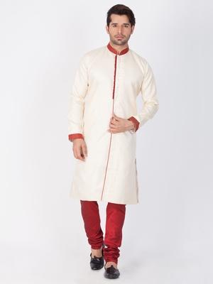 Men Gold Silk Blend Sherwani Style Kurta Set
