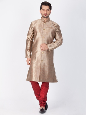 Men Gold Silk Blend Sherwani Style Kurta Set