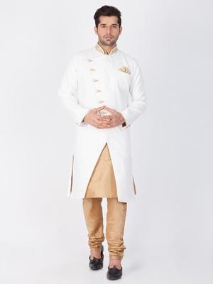 Men White Cotton Blend Sherwani Style Kurta Set