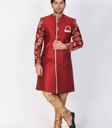 Men Maroon Silk Blend Sherwani Set