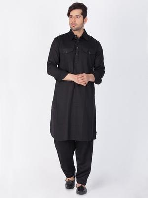 Men Black Cotton Pathani/Khan Suit Set