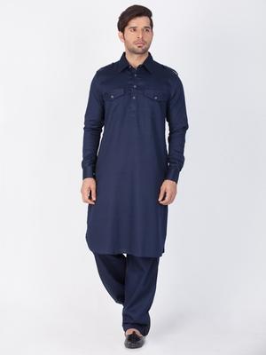 Men Blue Cotton Pathani/Khan Suit Set