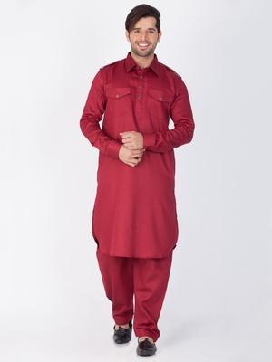 Men Maroon Cotton Pathani/Khan Suit Set