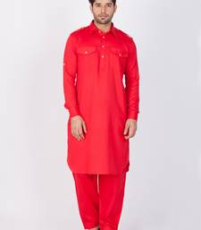 Men red cotton pathani/khan suit set