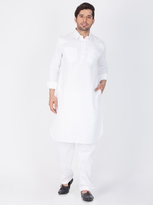 Men White Cotton Pathani/Khan Suit Set