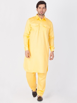 Men Yellow Cotton Pathani/Khan Suit Set