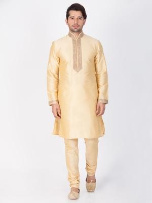 Men Gold Cotton Silk Kurta And Pyjama Set