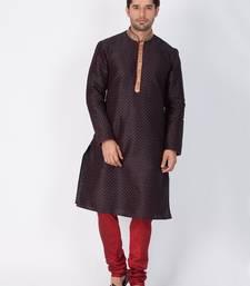 Men Black Cotton Silk Kurta And Pyjama Set