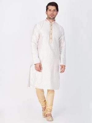 Men white cotton silk kurta and pyjama set