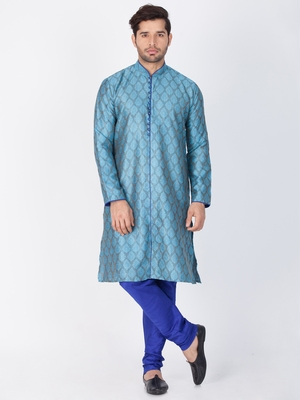 Men Light Blue Cotton Silk Kurta And Pyjama Set